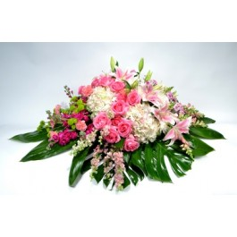 Pink and white casket spray EB-616