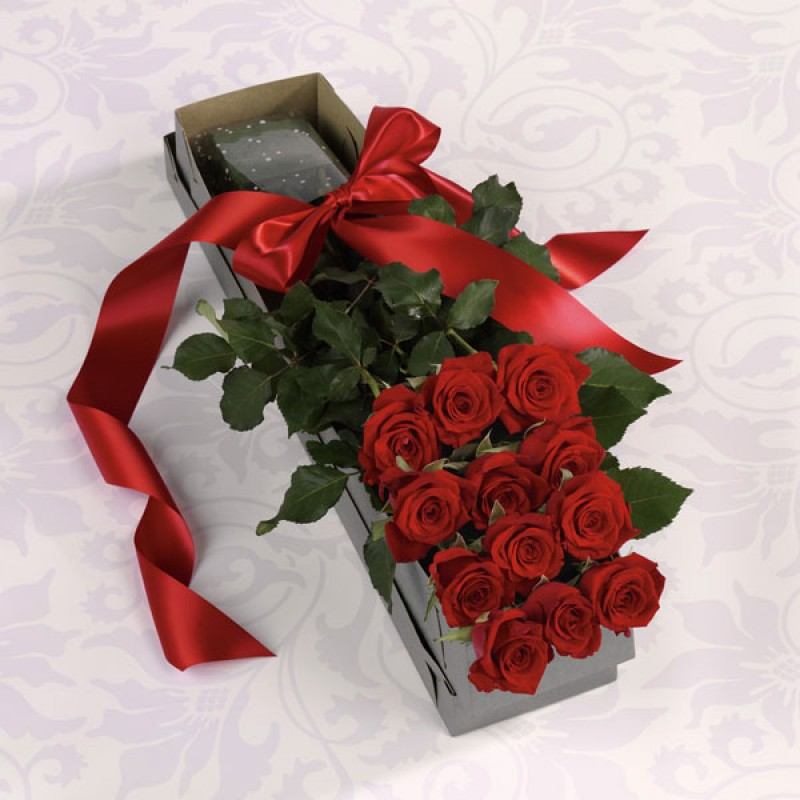 secret admirer bouquet EB-74 The Dozen premium long stem red  Roses Boxed