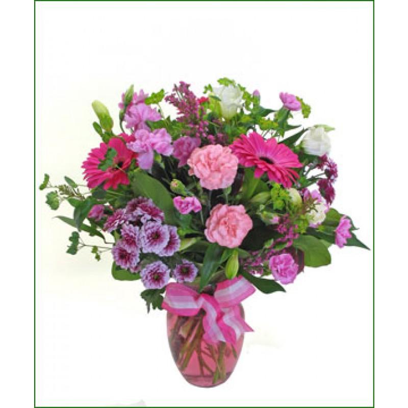 vase of pink blooms EB-340
