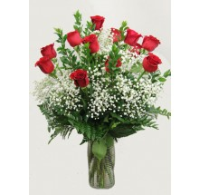 Dozen premium long stem red roses  EB-472