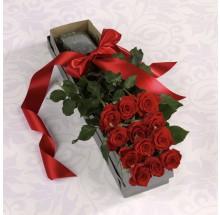 secret admirer bouquet EB-74 The Dozen premium long stem red  Roses Boxed