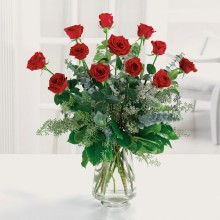 Dozen premium long stem red roses EB-71